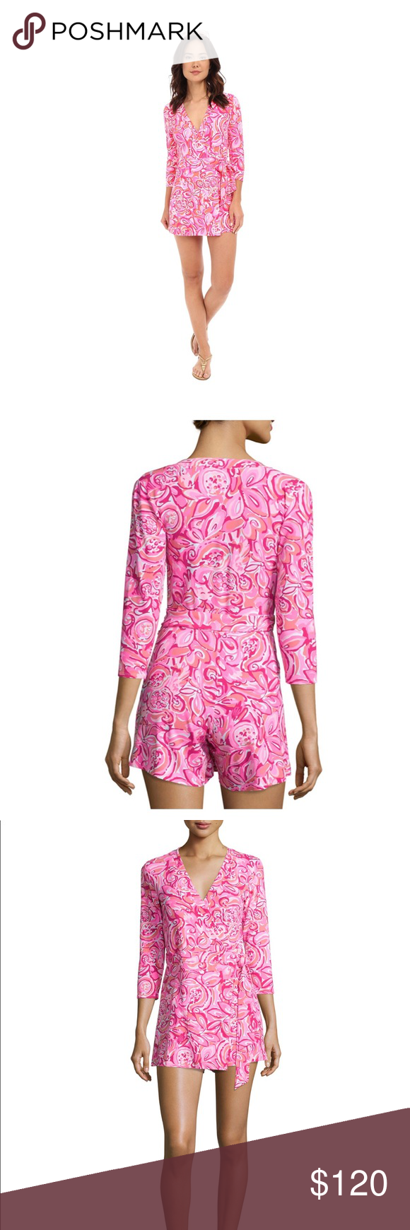 c0e228e4dd1 Lilly Pulitzer Karlie Romper in pink mango salsa NWT beautiful luxurious  romper. Flattering on all figures. Lilly Pulitzer Dresses