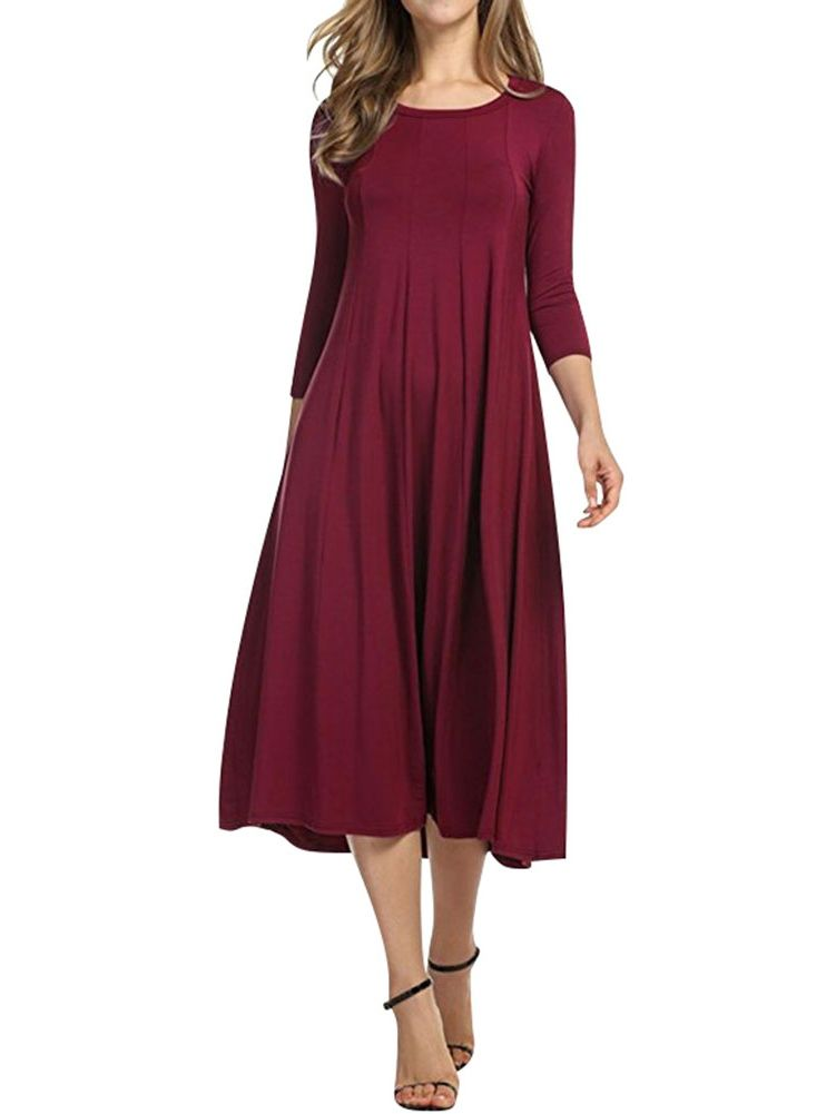 2f165d1401 Nlife Women 3 4 Sleeve Round Neck Swing Midi Dress Sleeve