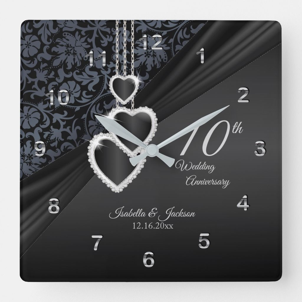 10th Onyx Wedding Anniversary Keepsake 2 Square Wall Clock Zazzle Com In 2020 Wedding Anniversary Keepsake Wedding Anniversary Square Wall Clock