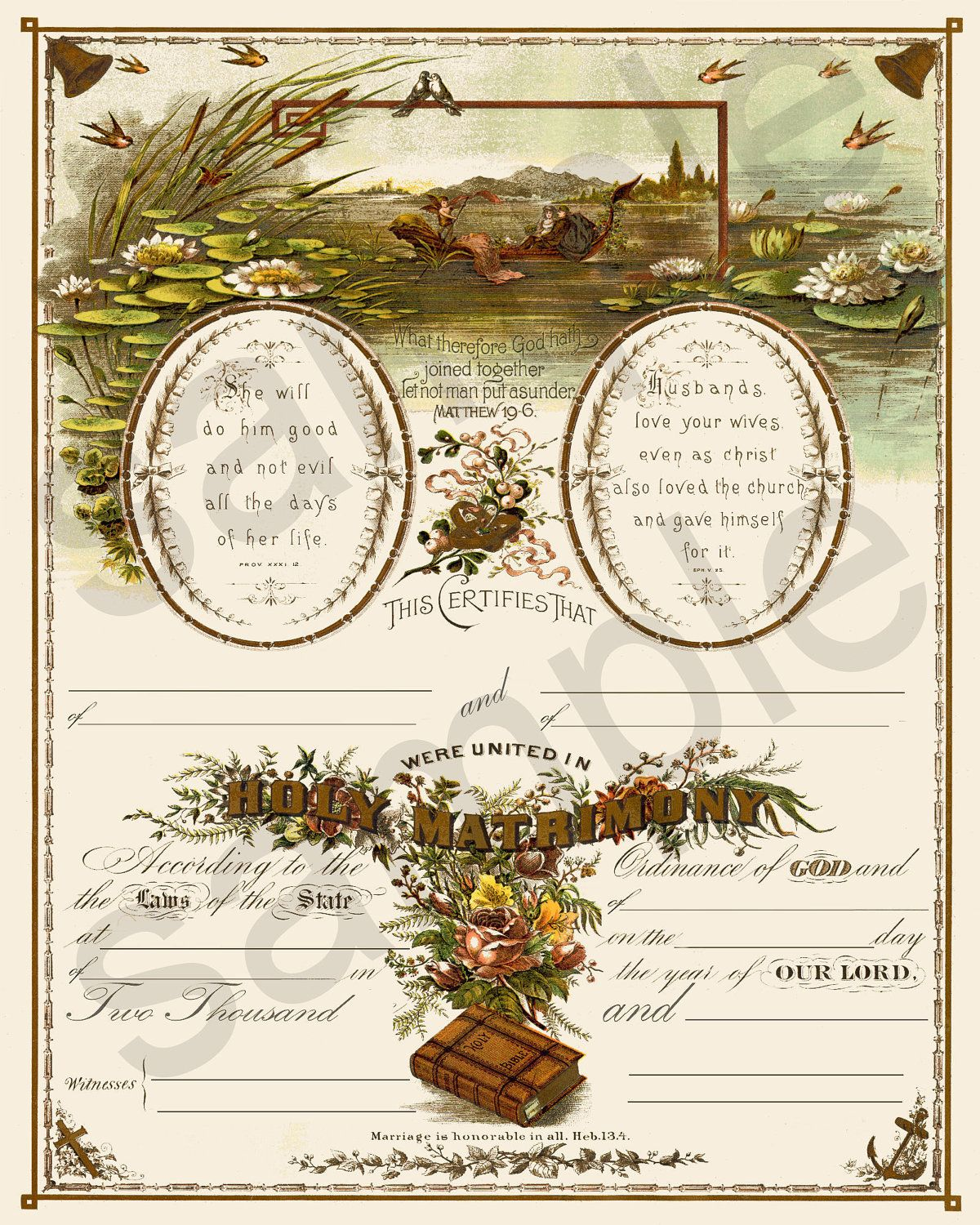 Beautiful Antique 19th Century Blank Marriage Certificate Etsy In 2020 Marriage Certificate Wedding Certificate Marriage