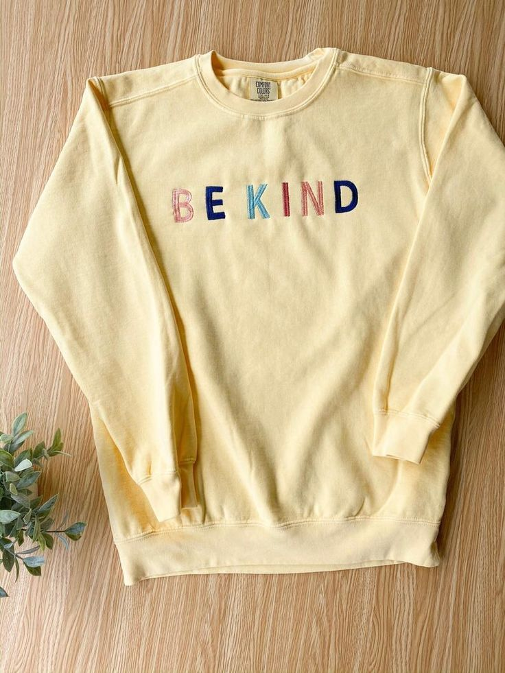 BE KIND Comfort Colors Light Yellow Crewneck Sweatshirt, Unisex Rainbow Embroidered Sweatshirt