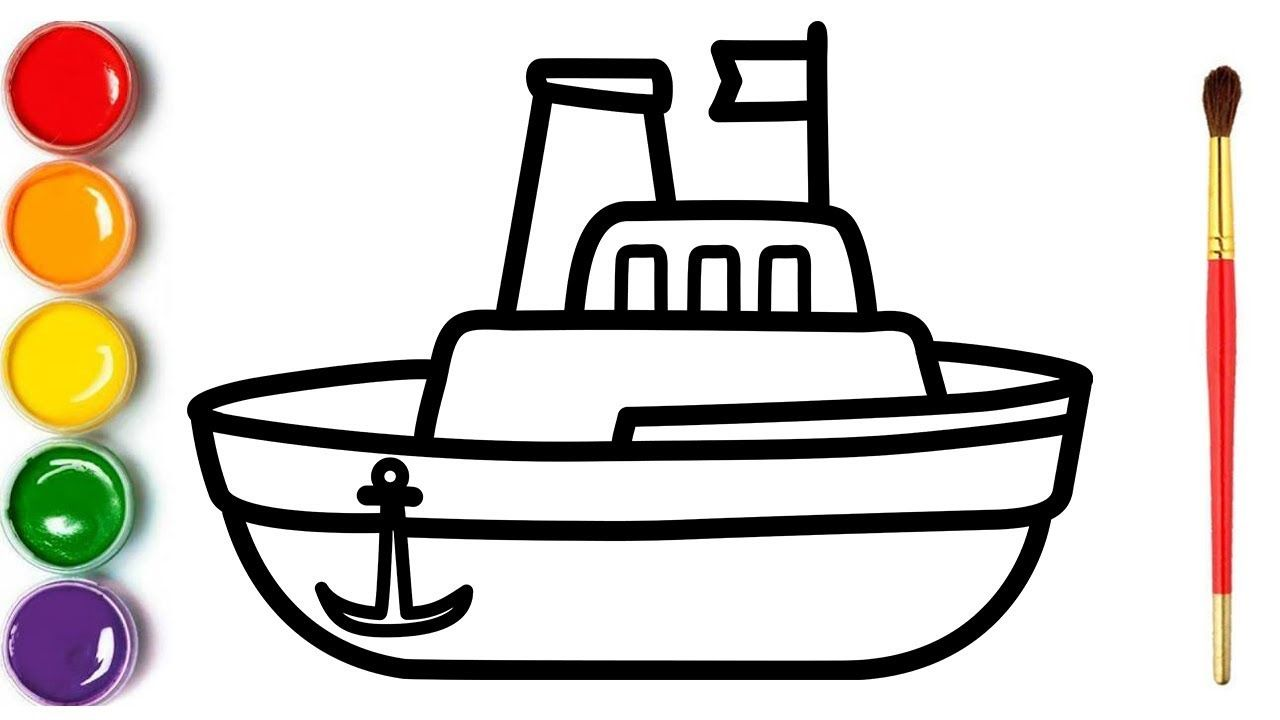 Toy Boat Childrens Coloring And Drawing With Glitters