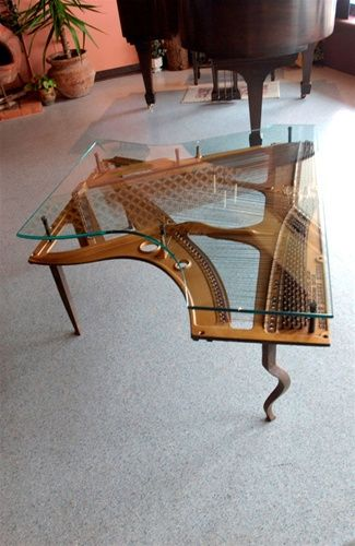 Great Repurposed Piano Insides / Harp Into Coffee Table With Glass Top, Add Legs;  By
