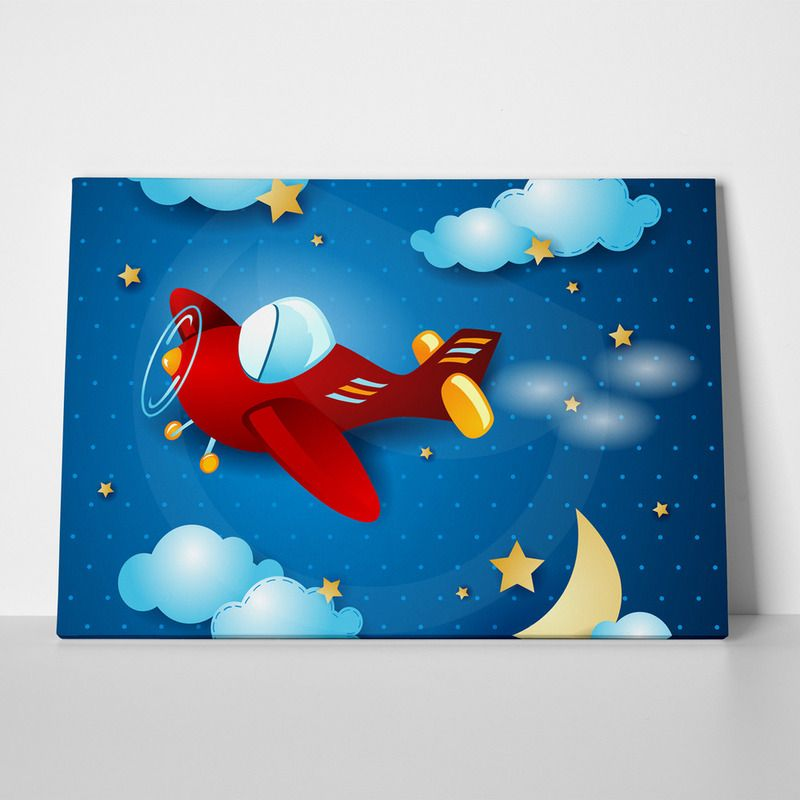 Canvas print red airplane by sticky