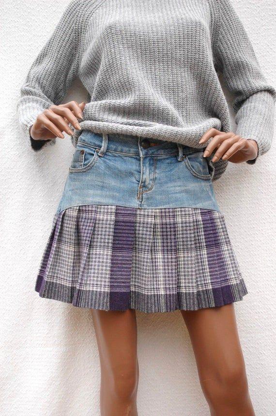 LEcossaise – Jupe plissée tissu laine & denim, jupe courte, jupette, éco-mode,mode écologique,recyclage de friperie,upcycling,low fashion