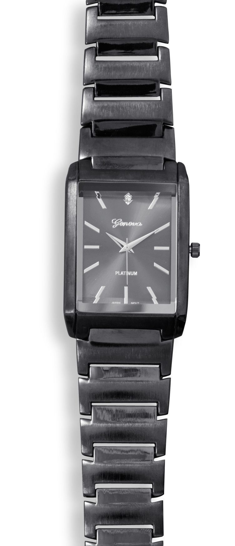 Men's Gunmetal Fashion Watch with Clear Crystal Accent