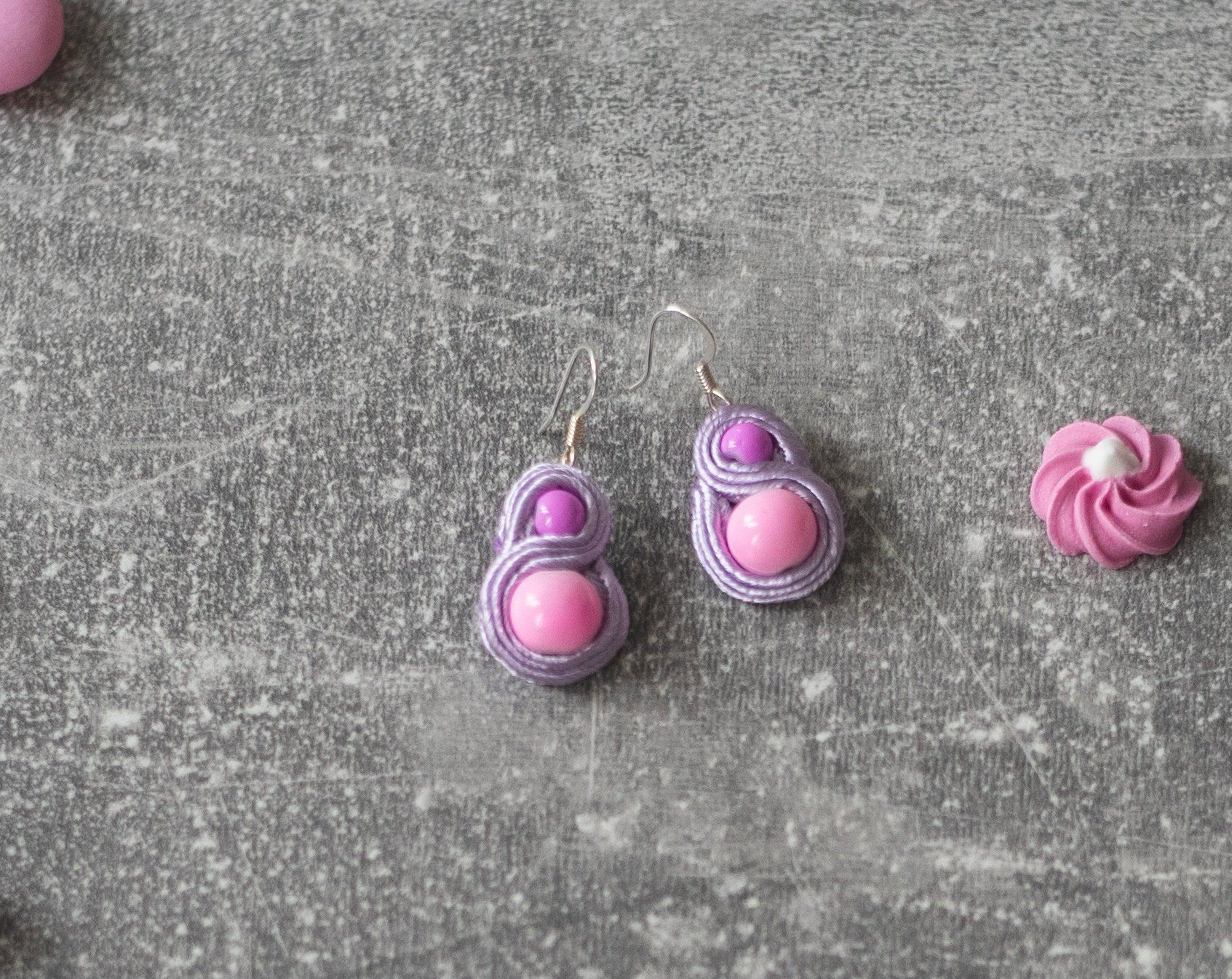 Pastel Earrings / Soutache Jewelry / Pastel Goth Earrings / Nickel Free / Glass beads / Simple Earrings / Casual Goth Store #casualgoth