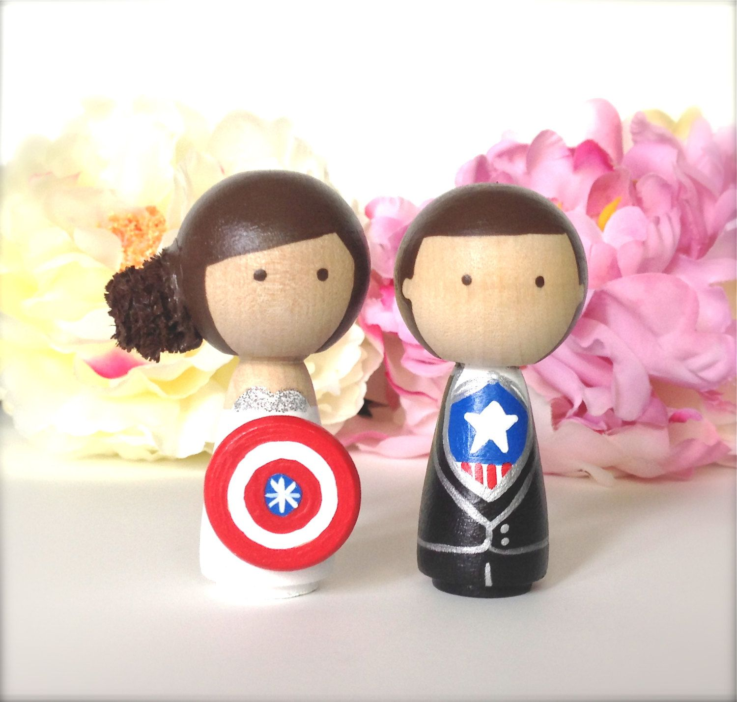 Superhero WEDDING CAKE TOPPER Kokeshi by CreativeButterflyXOX