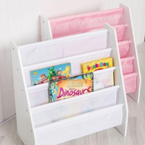Kids Sling Bookshelf Children Bookcase Book Shelf Rack Play Room Furniture Home