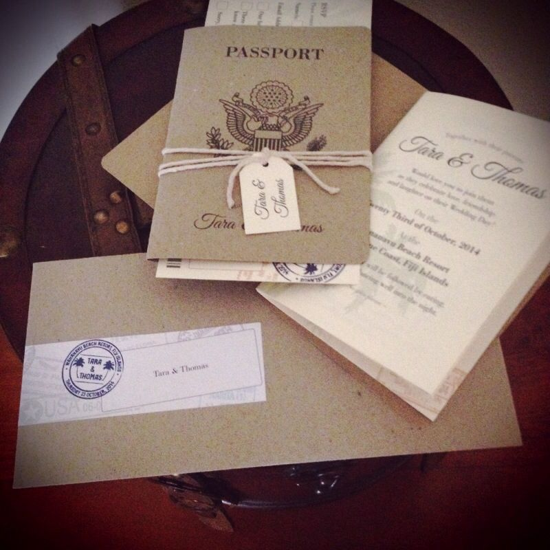 Destination Wedding invitation set with Kraft paper passport ...