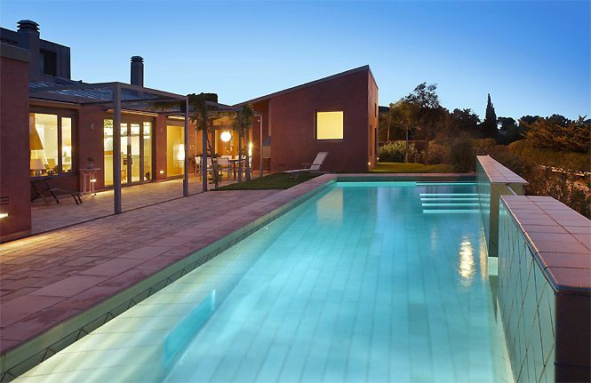 Private pool of the Modern Seaview Chalet, Costa Brava, Spain