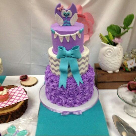 Amazing Purple And Teal Baby Shower Cake