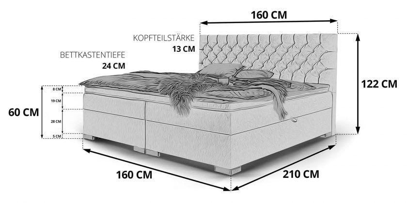 Boxspringbett Mit Bettkasten Stauraum Bett London Skizze 160x200 Bett Bettkasten Graues Bett