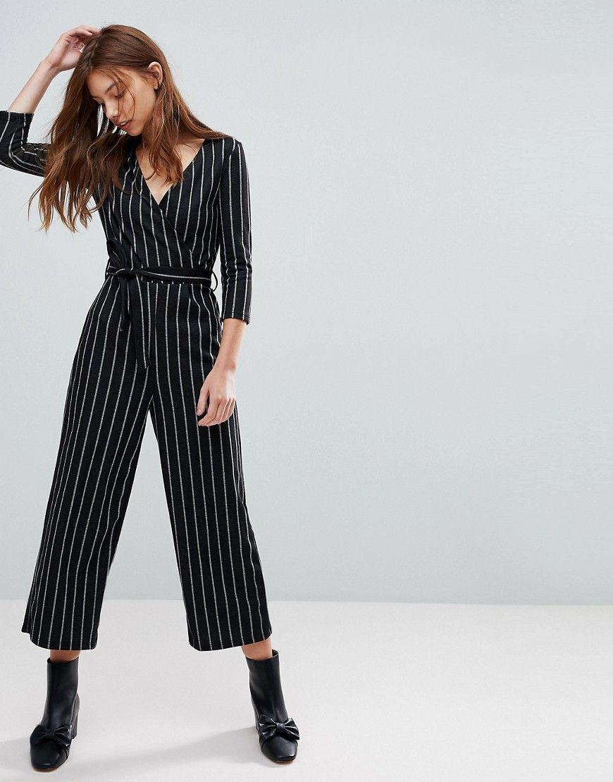 bac214b8bf2 Bershka Long Sleeve Wrap Jumpsuit - Black