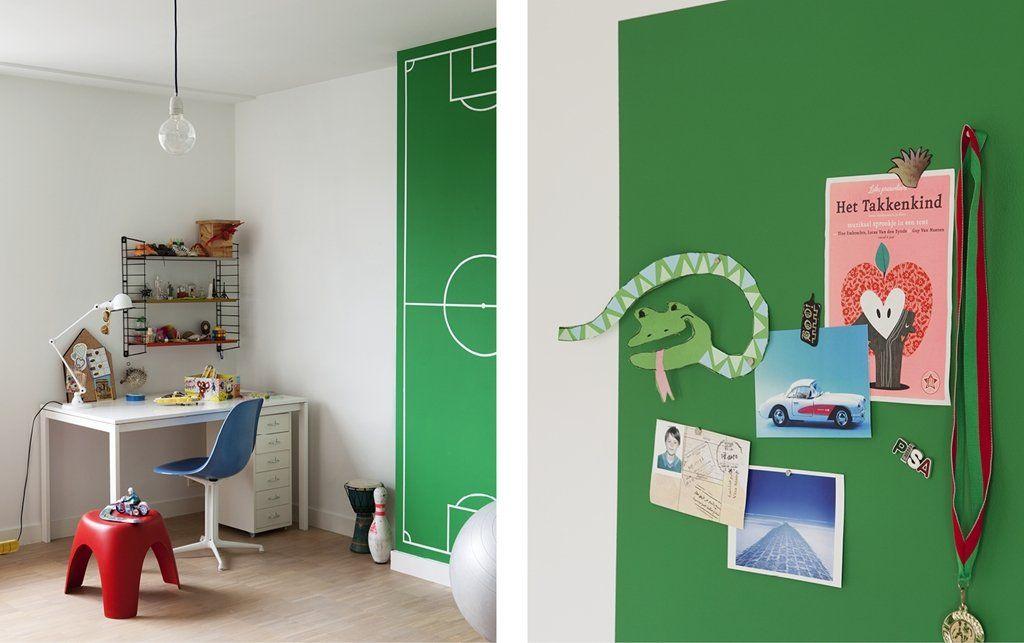 Groene Kinderkamer Ideeen : Een muur in magneetverf groene kinderkamer for the home