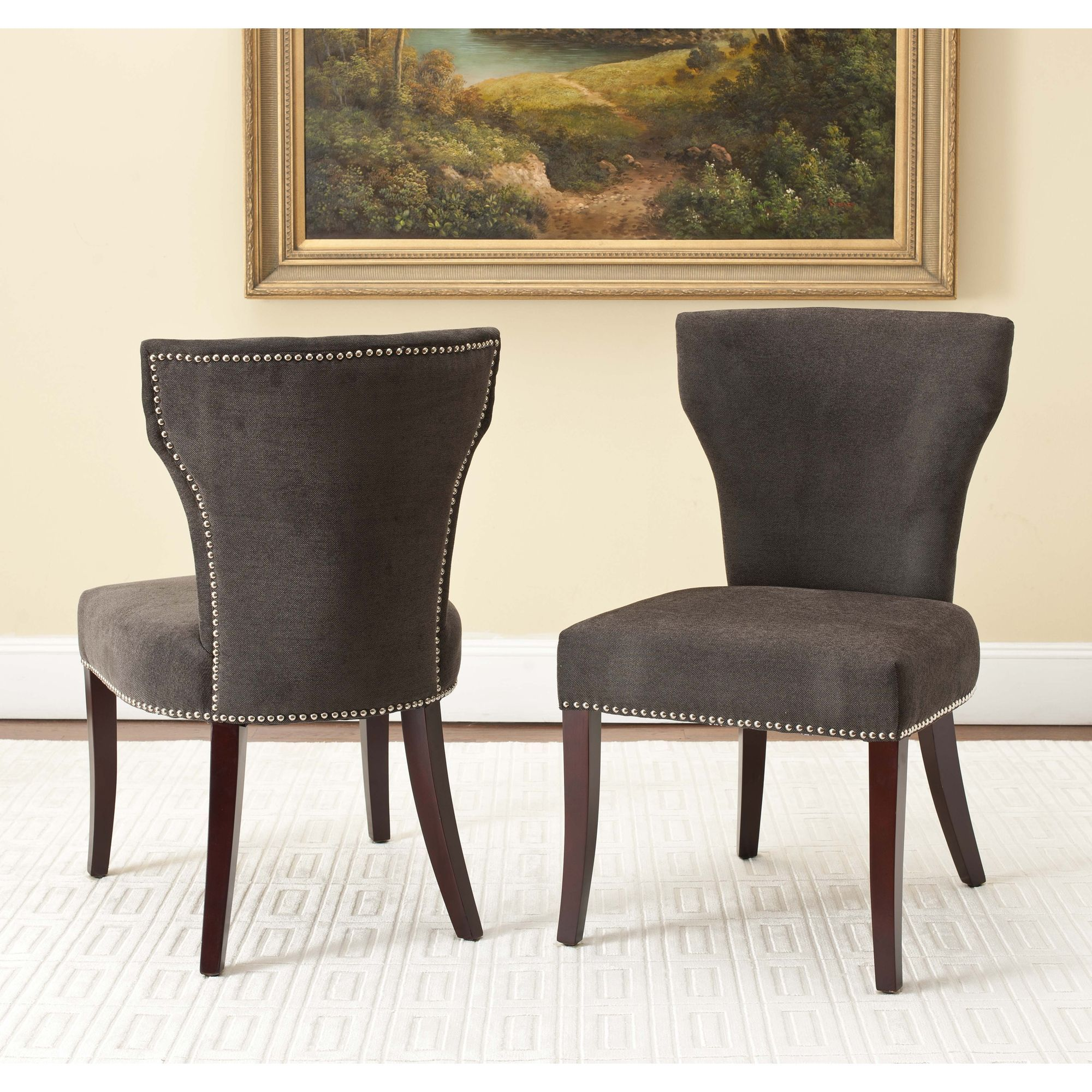 Safavieh En Vogue Dining Matty Dark Grey Nailhead Chairs Set Of 2 Mcr4513c Set2 Black Cherry