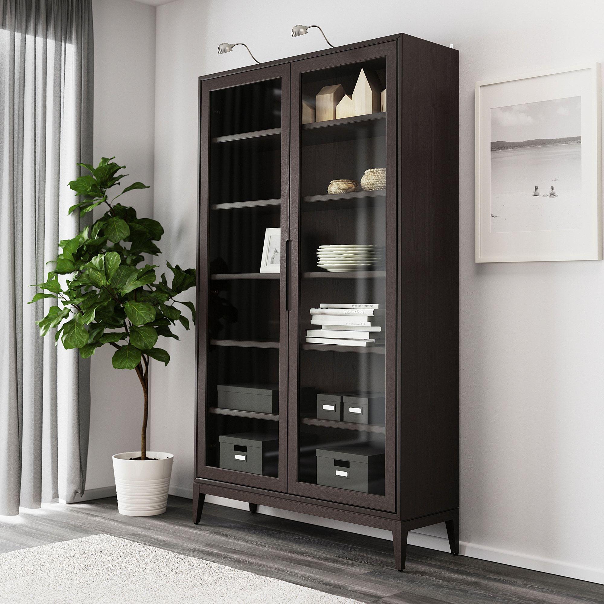 Regissor Vitrine Brun 118x203 Cm Ikea In 2020 Glass Cabinet Doors Glass Shelves Glass Shelves Kitchen [ 2000 x 2000 Pixel ]