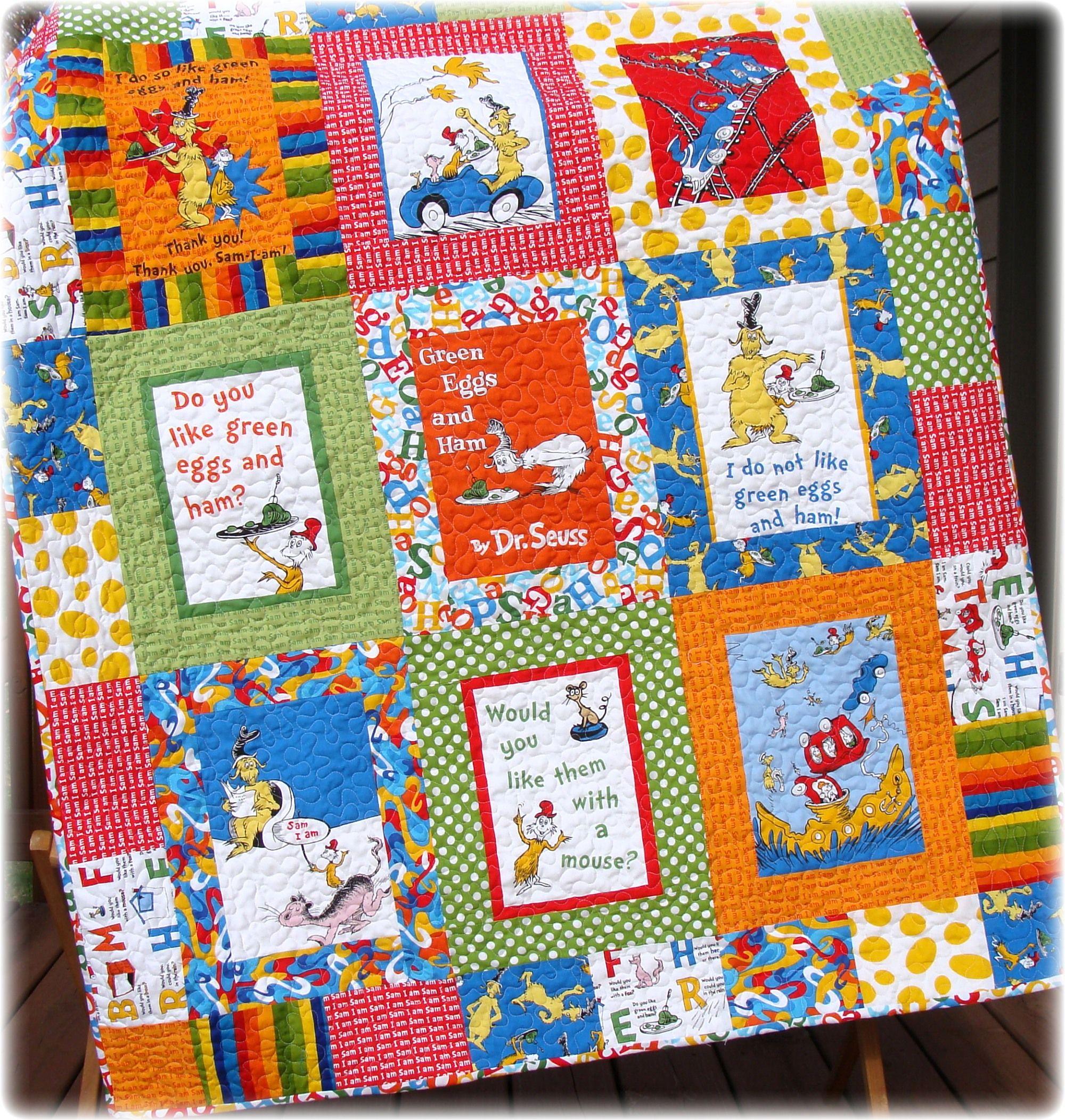 Green Eggs and Ham Baby Quilt   Baby Wilken #2!   Pinterest ... : dr suess quilt - Adamdwight.com