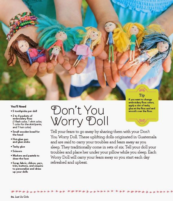 how to make trouble dolls, how to make worry dolls, just us girls, mother daughter craft projects