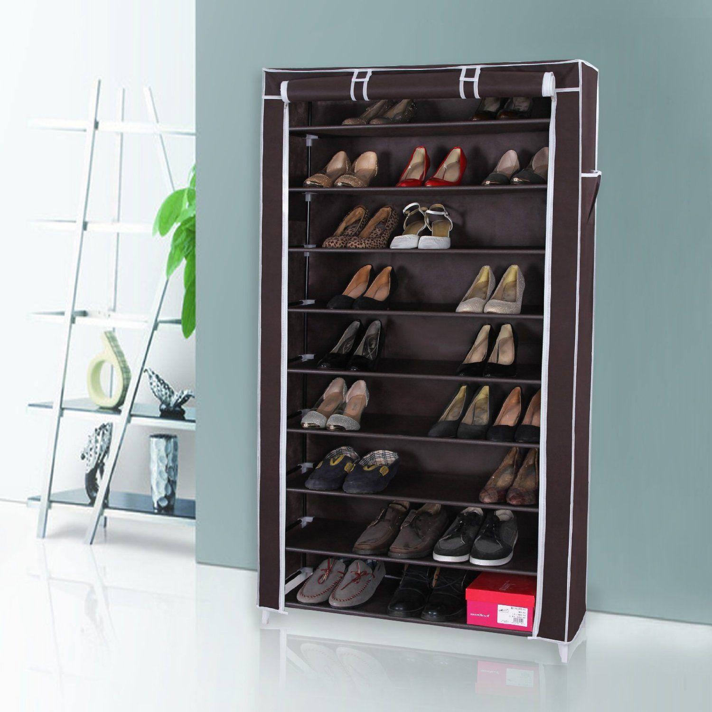 Amazon.com: Songmics 10 Tiers Shoe Rack with Dustproof Cover ...
