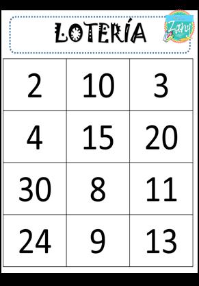 Lotería De Números Del 1 Al 30 Materiales Zany Loterias Para Niños Bingo De Numeros Numeros Para Niños