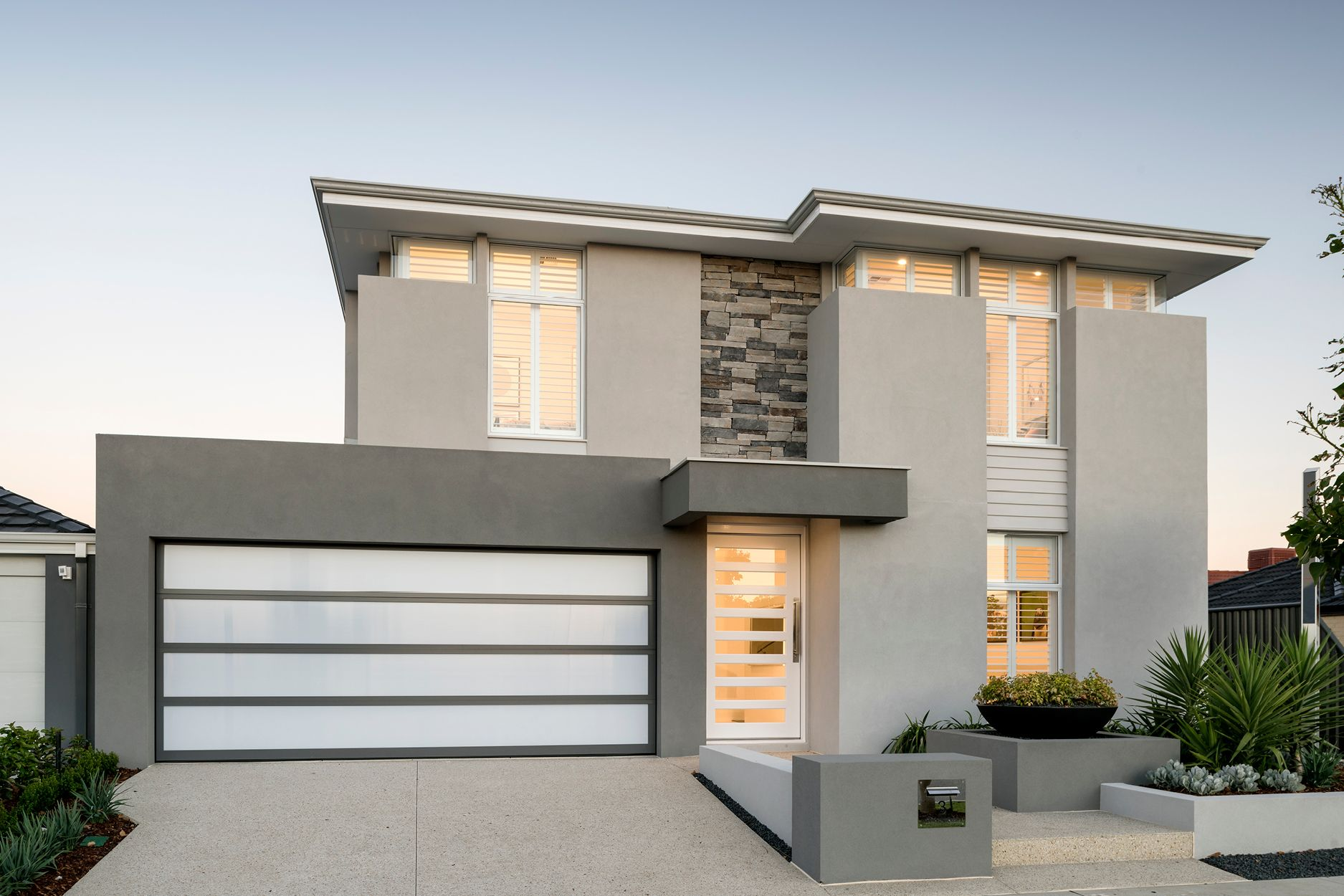 The Riversea C Ben Trager Homes Perth Display Home Elevation Storey Homes Modern House Exterior House Design