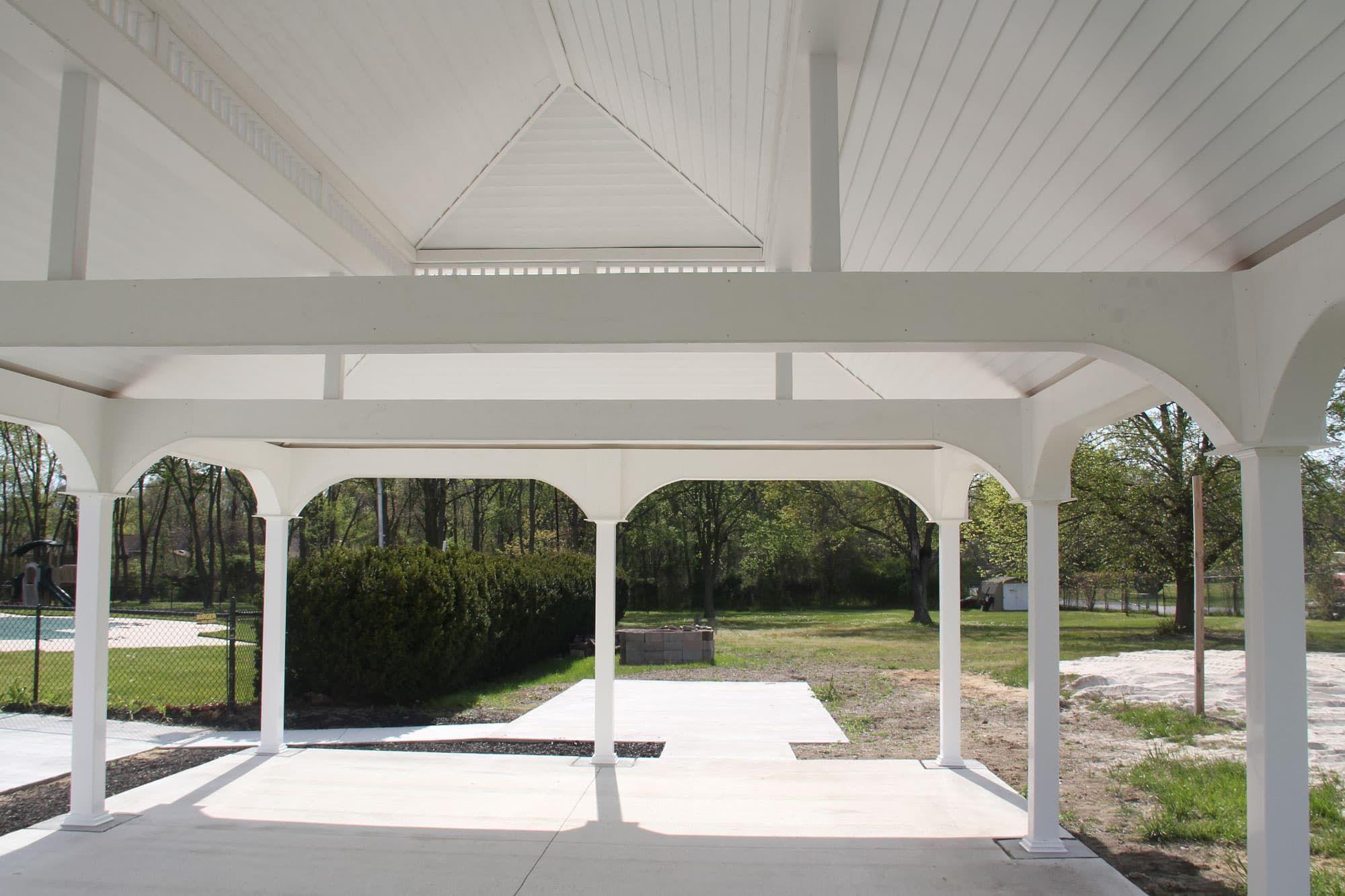 Underside Of A Large White Vinyl Pavilion Backyard Pavilion Pavilion Design Pavilion