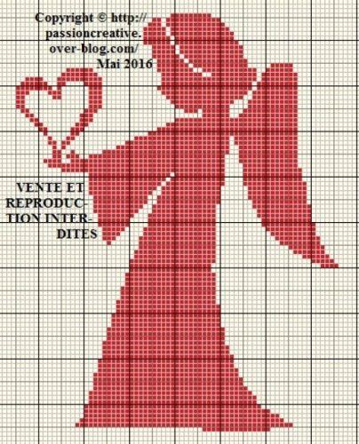 Grille gratuite point de croix : Ange au coeur rouge