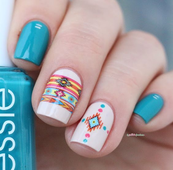 Native patterns nude style nails and gel nail polish manicure prinsesfo Gallery