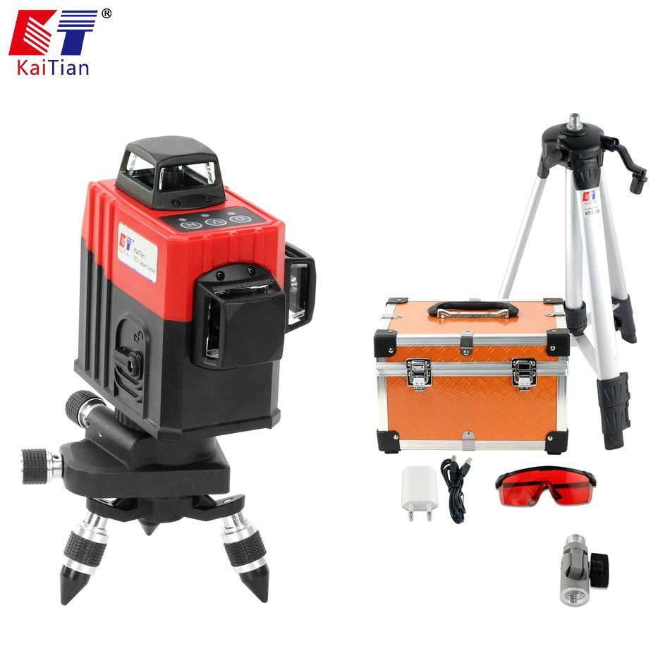 Kaitian 3d Laser Level Tripod 360 Rotary With Outdoor Tilt Function Self Leveling 650nm Laser Beam Cross 12 Lines Level Nivel Yes Laser Levels Rotary Function