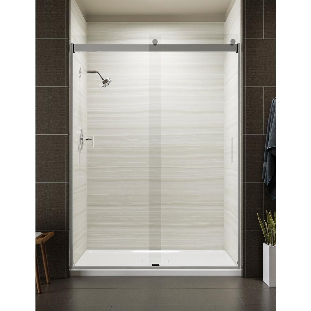 KOHLER Levity 59.625 in. W x 82 in. H Frameless Sliding Shower Door in Bright Polished Silver-K-706165-L-SHP #framelessslidingshowerdoors