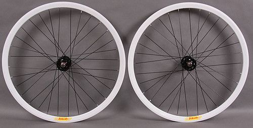 Velocity Deep V White Track Bike Fixed Gear Wheels Wheelset Fixed