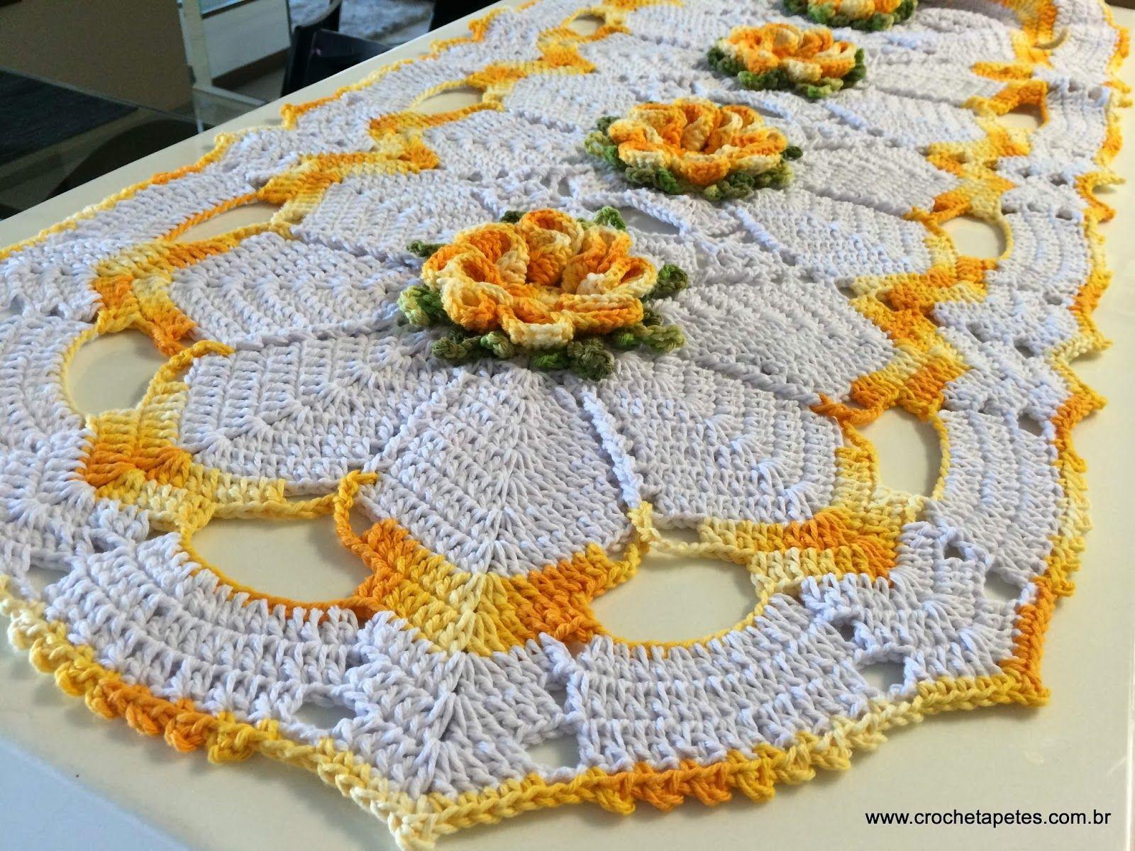 Tapete flor cam lia passo a passo passadeira em croche for Tapetes de crochet