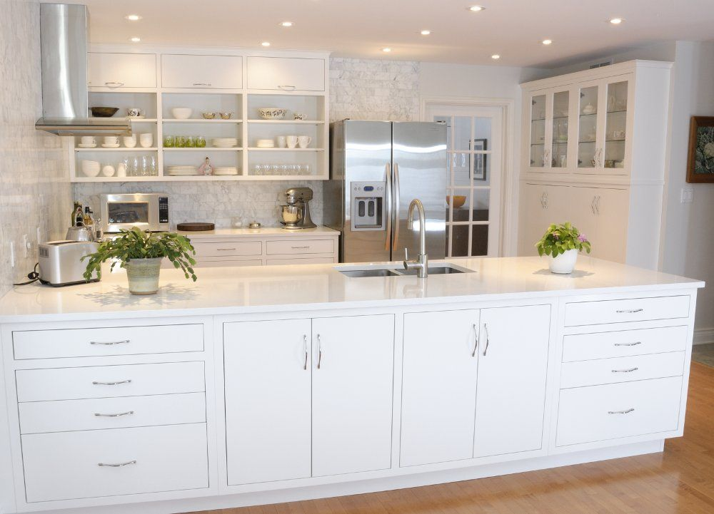 Contemporary White Kitchen: face frame construction, slab ...