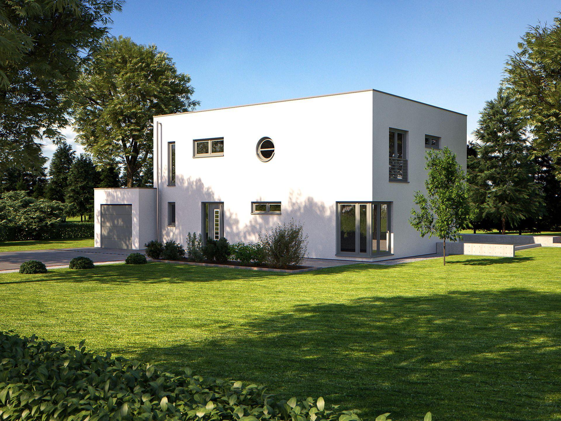 Haus fine arts 201• effizienzhaus von bärenhaus • stilvolles fertighaus mit dachterrasse integrierter garage