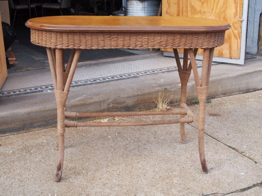 Vintage Wicker Sofa Table With Refinished Wood Top Wicker Sofa Table Vintage Wicker Table