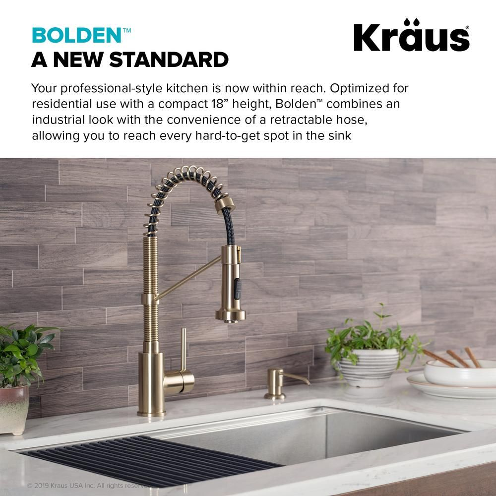 Kraus Bolden Single Handle Pull Down Sprayer Kitchen Faucet With Dual Function Sprayhead In Brushed Gold Kpf 1610bg The Home Depot Kitchen Faucet Black Kitchen Faucets Single Handle Kitchen Faucet