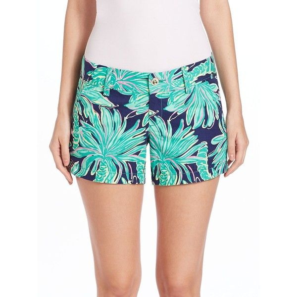 Lilly Pulitzer Callahan Cotton Shorts ($67) ❤ liked on Polyvore featuring shorts, apparel & accessories, zipper shorts, lilly pulitzer shorts, lilly pulitzer and cotton shorts
