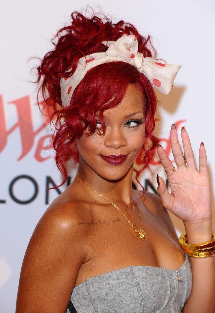 Rihanna Red Curly Hairstyle | Rihanna hairstyles, Rihanna