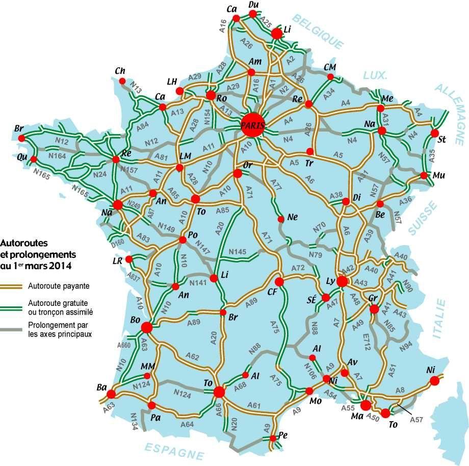 Carte Routes Et Autoroutes De France Carte De France Carte