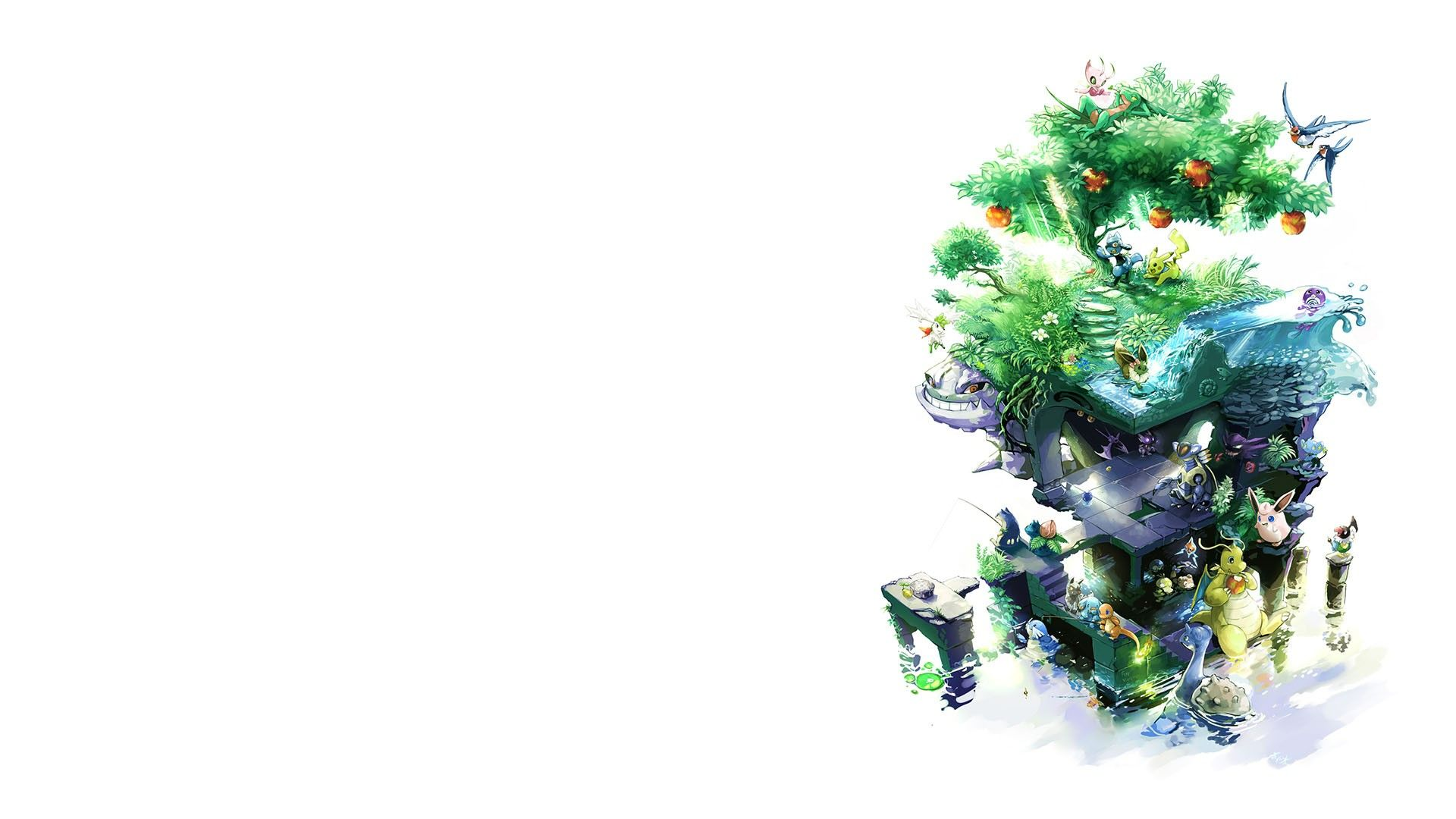 1920x1080 Pokemon Tree White Background Hd Wallpapers 1080p White Background Hd Background Hd Wallpaper Hd Wallpapers 1080p