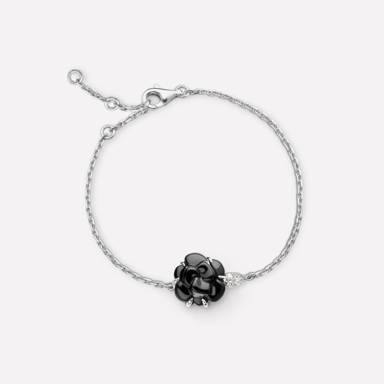 f370db4b00254a Camélia bracelet - Camélia Sculpté bracelet in black onyx, 18K white gold  and diamonds -