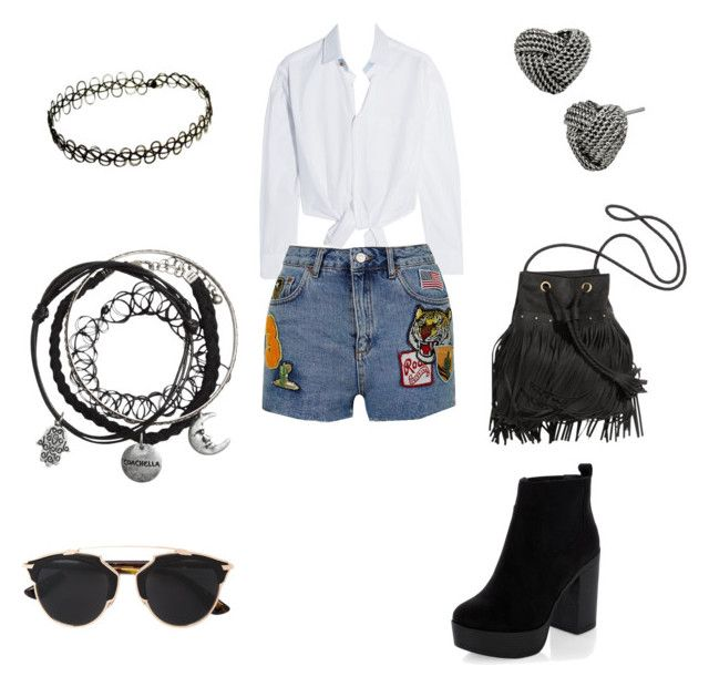"""""""#coachella #schoolinlife #wildchild #flowerchild"""" by keonareid on Polyvore featuring Maje, Topshop, New Look, Betsey Johnson and Christian Dior"""