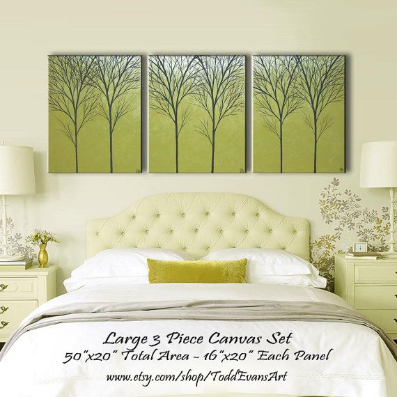 TODAY, Original, 3 piece Wall art, set, Large, Canvas, Olive Green ...