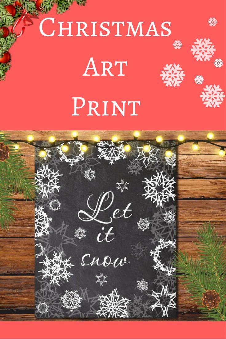 Cute Art For Christmas :) Christmas Art Print Christmas Gift Christmas Wall  Art Printable Let It Snow Print Winter Art Print Christmas Wall Decor  Holiday ...