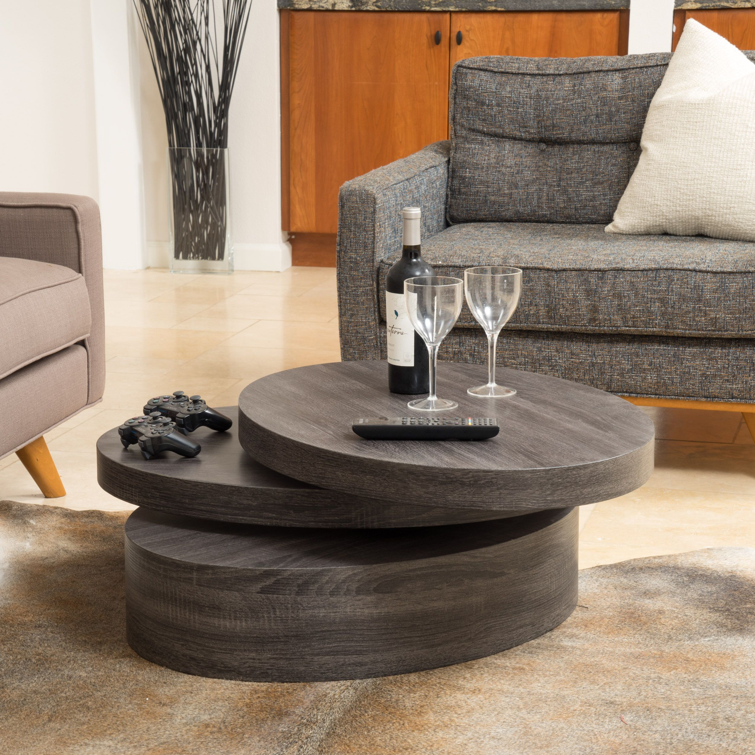 Carson Oval Mod Rotating Wood Coffee Table by Christopher Knight