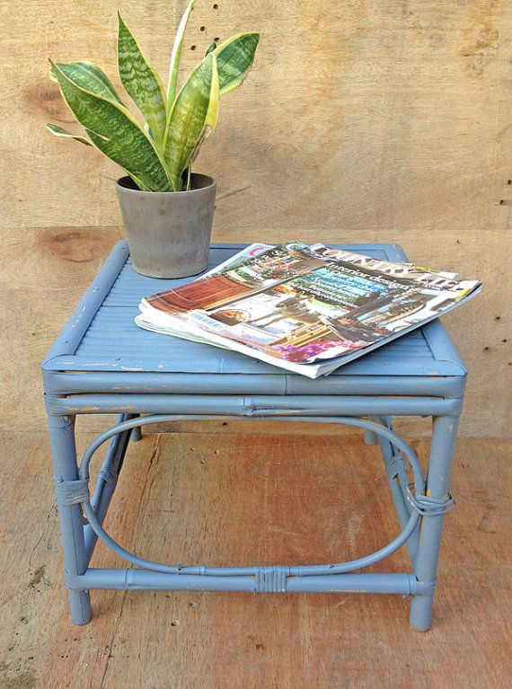 Upcycled bamboo side table or bedside table Bamboo table