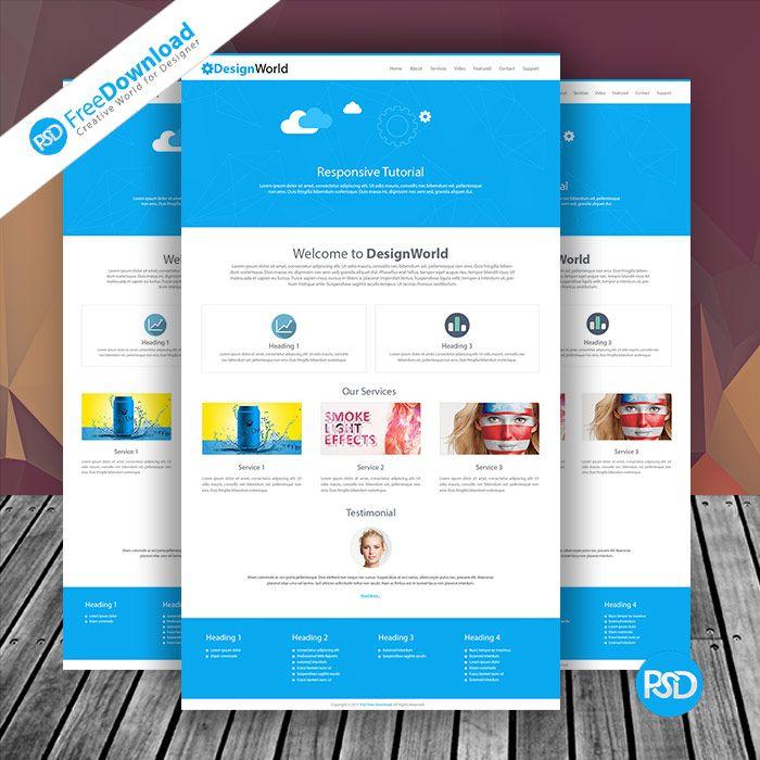 Website Design Template Free Mockup PSD Free Download Best UI