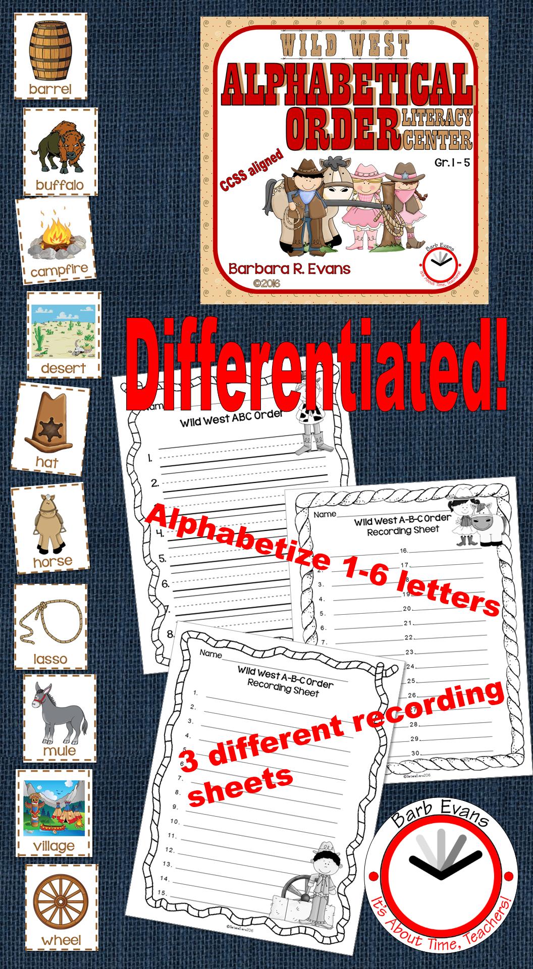 Alphabetical Order Literacy Center Wild West Edition