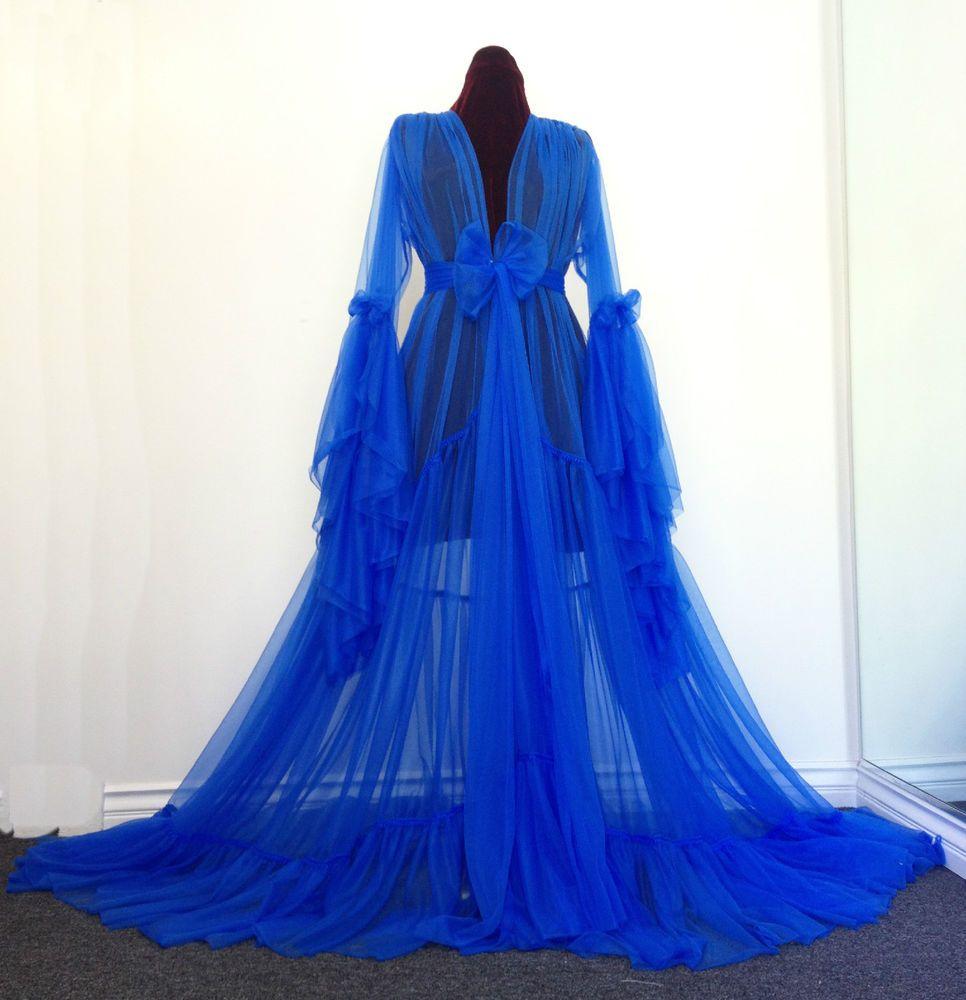 Soft & Sheer Blue Blue Ruffled Dressing Gown Burlesque D\'Lish ...